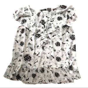 mblm flowy ruffle trim rockabilly heart graphic blouse